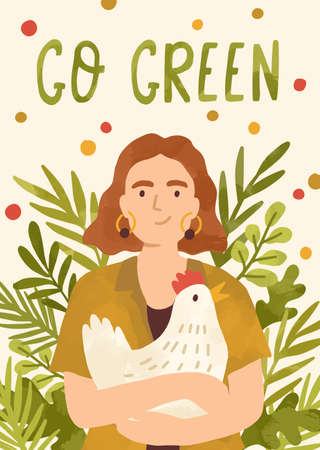 Motivational vertical poster with Go Green lettering on it decorated with leaves, plants and greens. Flat vector illustration of vegan placard with place for text and cheerful woman, who holds hen 向量圖像