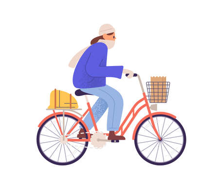 Flat vector cartoon illustration of bicycling woman in warm clothing. Female character riding bicycle in cold autumn, spring or winter weather. Active character cycling in outerwear isolated on white