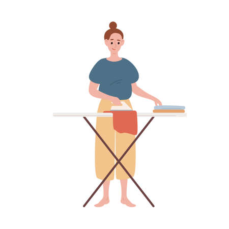 Happy modern housewife ironing clothes vector flat illustration. Smiling woman making routine housework use iron isolated on white. Female character during domestic activity with equipment