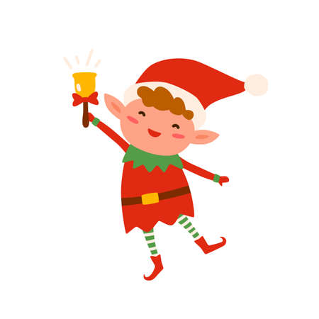 Cute Christmas elf in red costume and hat ringing holiday bell. Festive childish xmas character isolated on white. Happy funny Santa helper. Vector illustration in flat cartoon style