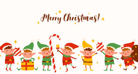 Group of cute elves on Merry Christmas horizontal background. Funny Santa helpers in costumes isolated. Fairy tale festive childish characters holding holiday gifts, candy, ringing xmas bell  イラスト・ベクター素材