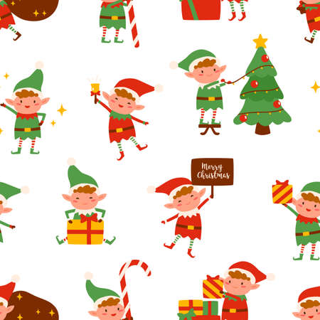 Adorable happy elves in festive costumes seamless pattern. Cute Santa helpers with Christmas gifts and decorations vector flat illustration. Colorful winter seasonal holiday wallpaper template  イラスト・ベクター素材