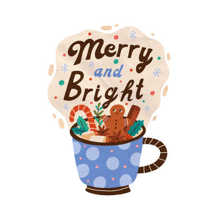 Christmas seasonal card with cup of cacao with marshmallow, gingerbread and cinnamon. Xmas composition with mug of hot drink. Festive cozy beverage. Vector flat cartoon illustration isolated on white