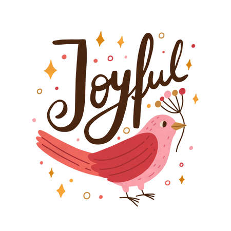Pink beautiful bird holding branch. Festive card decorated with cute birdie and confetti. Vector flat cartoon illustration of christmas composition with holiday inscription isolated on white