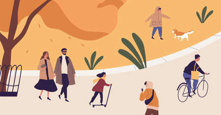 People spend time in autumn city park. Modern characters recreational activity outdoors. Couple strolling, kid playing with dog, man riding bicycle. Flat vector cartoon illustration