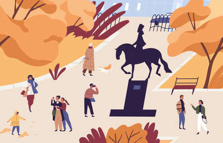 Autumn city park with people walking and taking photos. Urban garden with monument. Men, women and children spend time at public place. Flat vector cartoon illustration
