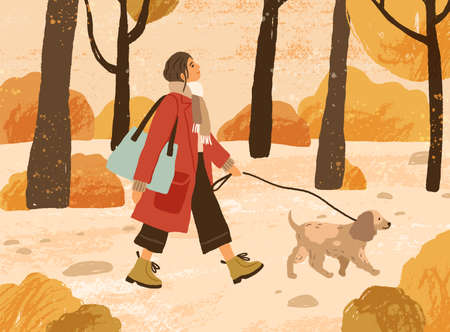 Young woman in trendy warm outwear walking dog in autumn park, admiring nature. Fashionable female character with pet in the forest. Fall recreation. Colorful vector illustration in flat cartoon style 일러스트