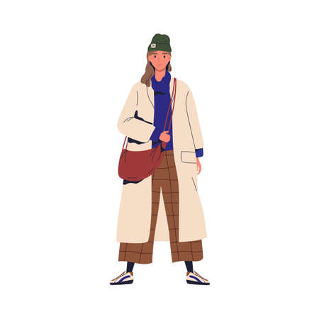 Young stylish woman demonstrating trendy outwear. Female character in fashionable autumn outfit. Cheerful woman wearing oversize coat. Flat vector cartoon illustration isolated on white Vectores