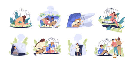 Scenes with people locked and getting out of the cage. Concept of inner prison escape and freedom. Victims in birdcage. Despair person in depression. Flat vector cartoon illustration isolated on white