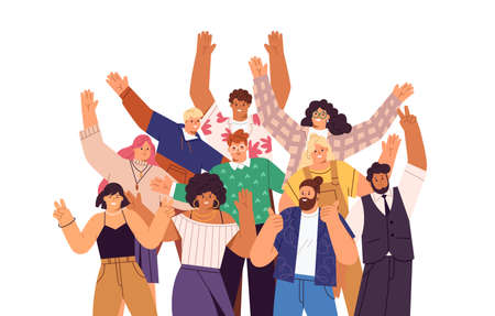 Group of happy people standing together, waving and inviting new customer, colleague. Concept of happy multiethnic team welcome newcomer. Flat vector cartoon illustration isolated on white Vetores