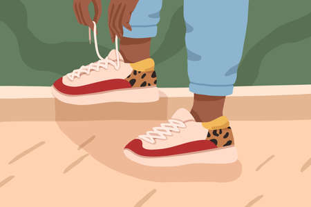 Woman legs in trendy sneakers with white, red colors and leopard print. Female dark skinned feet in stylish high sole sports footwear. Summer and autumn street style. Flat vector cartoon illustration