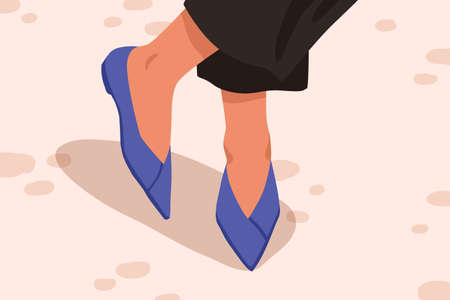 Woman casual acute toe court shoes with flat sole. Stylish blue leather pump shoes. Female feet in fashionable elegant summer footwear. Trendy footgear vector cartoon illustration