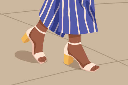 Woman casual strap sandals with yellow low square heel. Female feet in fashionable open toe footwear. Pair of summer elegant street style footgear. Flat vector cartoon illustration