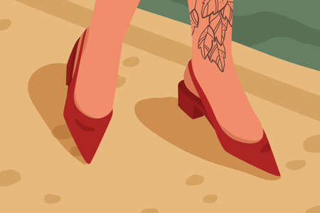 Woman red casual acute toe shoes with low square heel. Female feet with tattoo in stylish elegant open ankle footwear. Summer classic footgear flat vector illustration