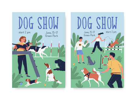 Advertising posters for dog agility show. Cynologist training performance at playground. Vertical placards for pet competition. Scene with trained puppies. Vector illustration in flat cartoon style 矢量图像