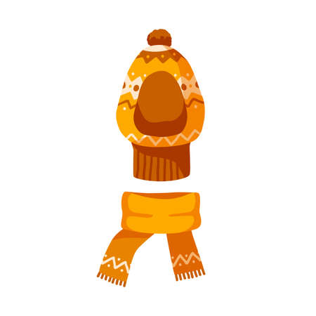 Ornamented childish balaclava and knitted scarf. Winter unisex orange hat with pompon for children. Flat vector cartoon illustration of warm kids headwear isolated on white background 矢量图像