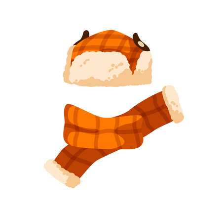 Checkered childish earflap hat and scarf. Winter orange cap with fur for children. Flat vector cartoon illustration of warm seasonal headwear for kids isolated on white background 矢量图像
