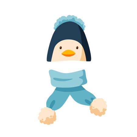 Childish bobble hat and plush scarf. Winter penguin cap with pompom for children. Flat vector cartoon illustration of warm seasonal headdress for kids isolated on white background
