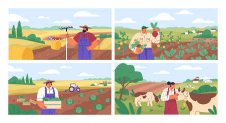 Set of horizontal banners with farmers picking crops, taking care of cows, making hay. People at farm vector flat illustration. Scenes with agricultural workers on farmland isolated. Harvest season 矢量图像