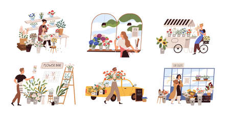 Set of people work at florist shop or store. Woman compose bouquet on table, man spray, hold, carry fresh flowers from car. Floristry handicraft on white. Flat vector cartoon isolated illustration 矢量图像
