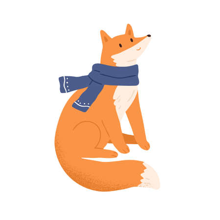 Funny fox wrapped in warm scarf vector flat illustration. Cute forest animal sitting. Amusing childish character with fluffy tail wearing winter seasonal accessory isolated on white