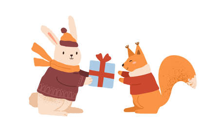 Funny rabbit in warm clothes giving gift box to cute squirrel vector flat cartoon illustration. Happy childish animals celebrating Christmas or Birthday isolated. Amusing characters in winter apparel