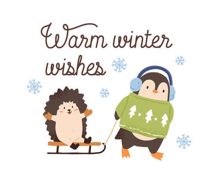 Greeting card with cute animals and inscription Warm winter wishes vector flat illustration. Festive postcard with cute penguin and sledding hedgehog isolated. Amusing characters in seasonal clothes 矢量图像