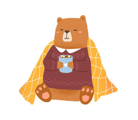 Childish bear holding cup with hot cocoa with marshmallow vector flat illustration. Funny animal in warm sweater isolated on white. Amusing teddy covered with comfy blanket relaxing at winter season