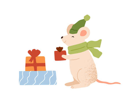Funny mouse holding Christmas gift box vector flat illustration. Cute rat in warm scarf and hat carrying festive wrapped present with bow isolated. Amusing animal enjoying seasonal winter holiday
