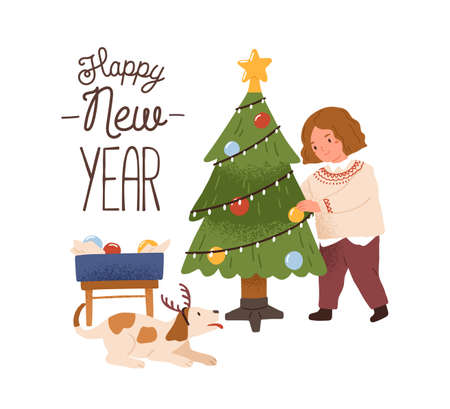 Greeting card with girl decorating Christmas tree and Happy New Year inscription vector flat illustration. Child and dog preparing to Xmas isolated. Festive postcard for winter seasonal holiday