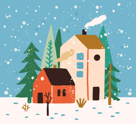 Hand drawn winter landscape with houses, trees and snowflakes vector flat illustration. Colorful rustic buildings exterior surrounded by snow and forest. Seasonal countryside scenery, wintertime mood