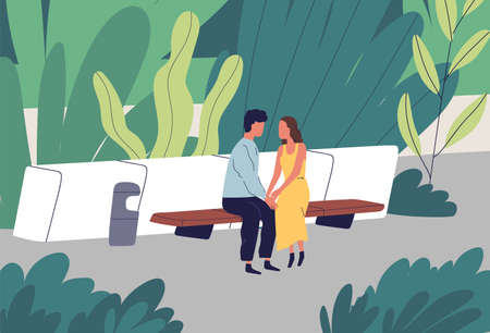 Couple having romantic date at summer park vector flat illustration. Enamored man and woman sitting on bench at garden surrounded by plants. Two lovers holding hands spending time outdoor together 矢量图像