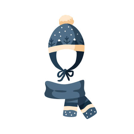 Ornamented knitted childish earflap hat and scarf. Winter chullo with pompom for children. Flat vector cartoon illustration of warm seasonal headdress for kids isolated on white background 矢量图像