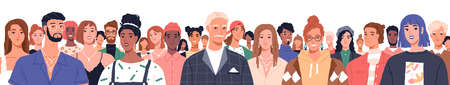 Portrait of diverse people standing together vector flat illustration. Group man and woman of different nationality and ages isolated. United of various generations. Social diversity or population Ilustración de vector