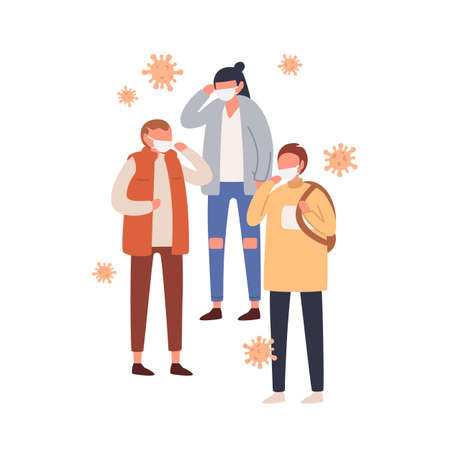 Group of people in protective masks vector flat illustration. Man and woman wearing protection from viral infection and air pollution isolated. Respiratory virus or environment pollutant emission 矢量图像