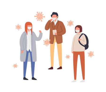 Set of people in protective mask vector flat illustration. Collection of male and female suffering from seasonal respiratory infection or environmental pollution surrounded by air bacterium isolated