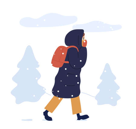 Young woman in warm seasonal outwear walking in winter park. Female character in long down jacket with a backpack outdoors in cold weather. Snowy wintertime. Vector illustration in flat cartoon style