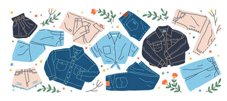 Set of different jeans clothes vector flat illustration. Collection of stylish denim shirt, trousers, jacket, shorts and skirt isolated. Trendy modern cotton clothing, street style wear