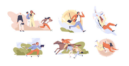 Set of scenes of hectic pace of life vector flat illustration. Collection of different people in hurry. Busy men and women running isolated on white. Deadline and time management concept 矢量图像