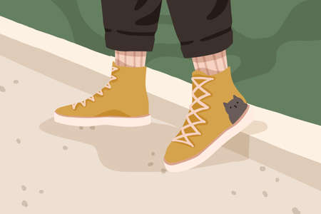 Womans or mans yellow trendy gumshoes. Female or male legs in stylish comfortable flat sole urban footwear. Autumn or spring street style sneakers. Vector cartoon illustration