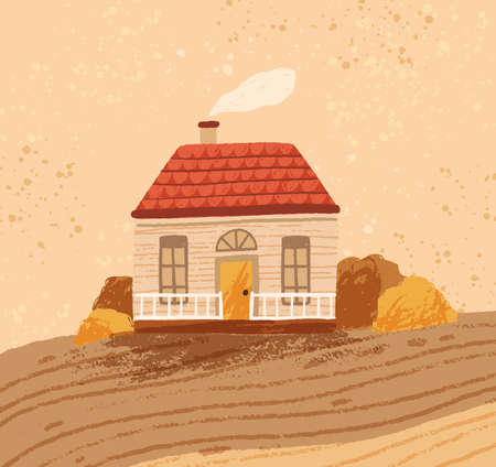 Hand drawn cozy rustic house against the landscape. Rural seasonal scenery with cute countryside cottage. Comfy farmhouse in autumn. Vector illustration in flat cartoon style 矢量图像