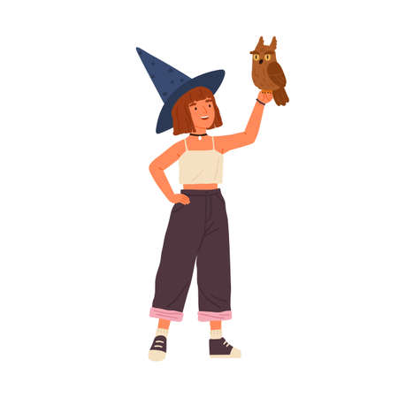 Cute little wizard holding magical owl vector flat illustration. Smiling female child demonstrating fairy animal isolated on white. Happy girl sorcerer wearing witch hat standing with magic bird