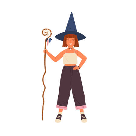 Happy little girl in witch hat holding magic cane vector flat illustration. Smiling cute female kid sorcerer standing with mysterious magical equipment isolated on white. Child in Halloween costume