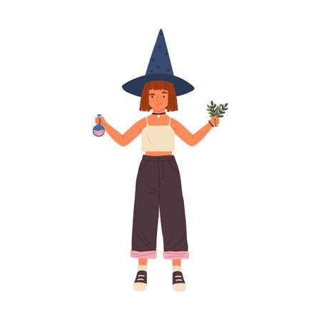 Female kid wizard holding beaker and herbs for preparing magic potion vector flat illustration. Cute girl in witch hat practicing wizardry isolated. Child demonstrate magical ingredients for witchery