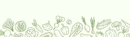 Horizontal background with with various vegetables and a place for text. Vegan backdrop with organic natural products. Line art vector monochrome illustration