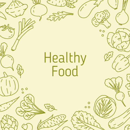 Monochrome line art background with different vegetables. Natural frame template with healthy organic products. Backdrop with eco food. Vector line art illustration