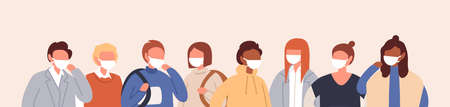 Horizontal background with group of people in protective face masks. Air pollution, seasonal disease outbreak, coronavirus. Men and women in respirators. Vector illustration in flat cartoon style