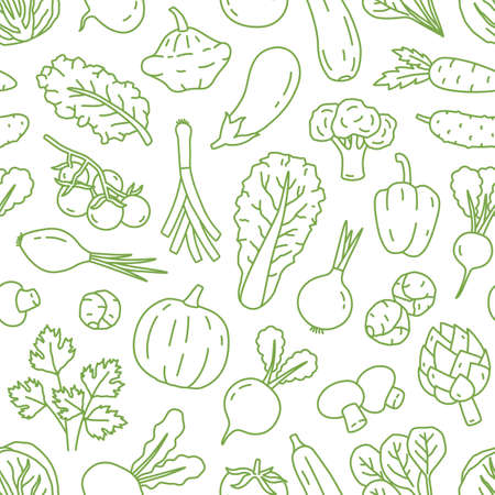 Monochrome line art seamless pattern with various organic vegetables. Repeatable background with healthy veggies and salad greens. Vector linear illustration 矢量图像