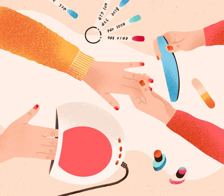 Manicure and nail care process. Professional manicurist with client. Table with gel polish, swatch palette and UV lamp. Colorful flat vector cartoon top view illustration