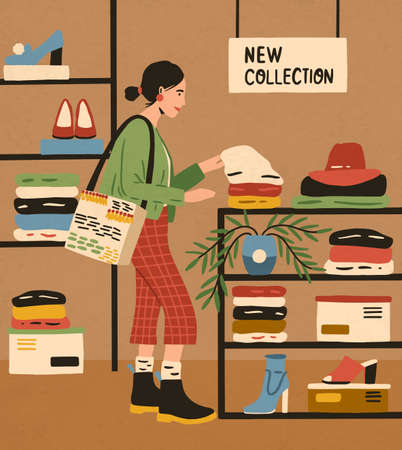 Trendy woman at mass market shop. Female character choosing clothes from new collection at boutique. Consumer shopping at fashion store. Flat vector cartoon illustration. 矢量图像